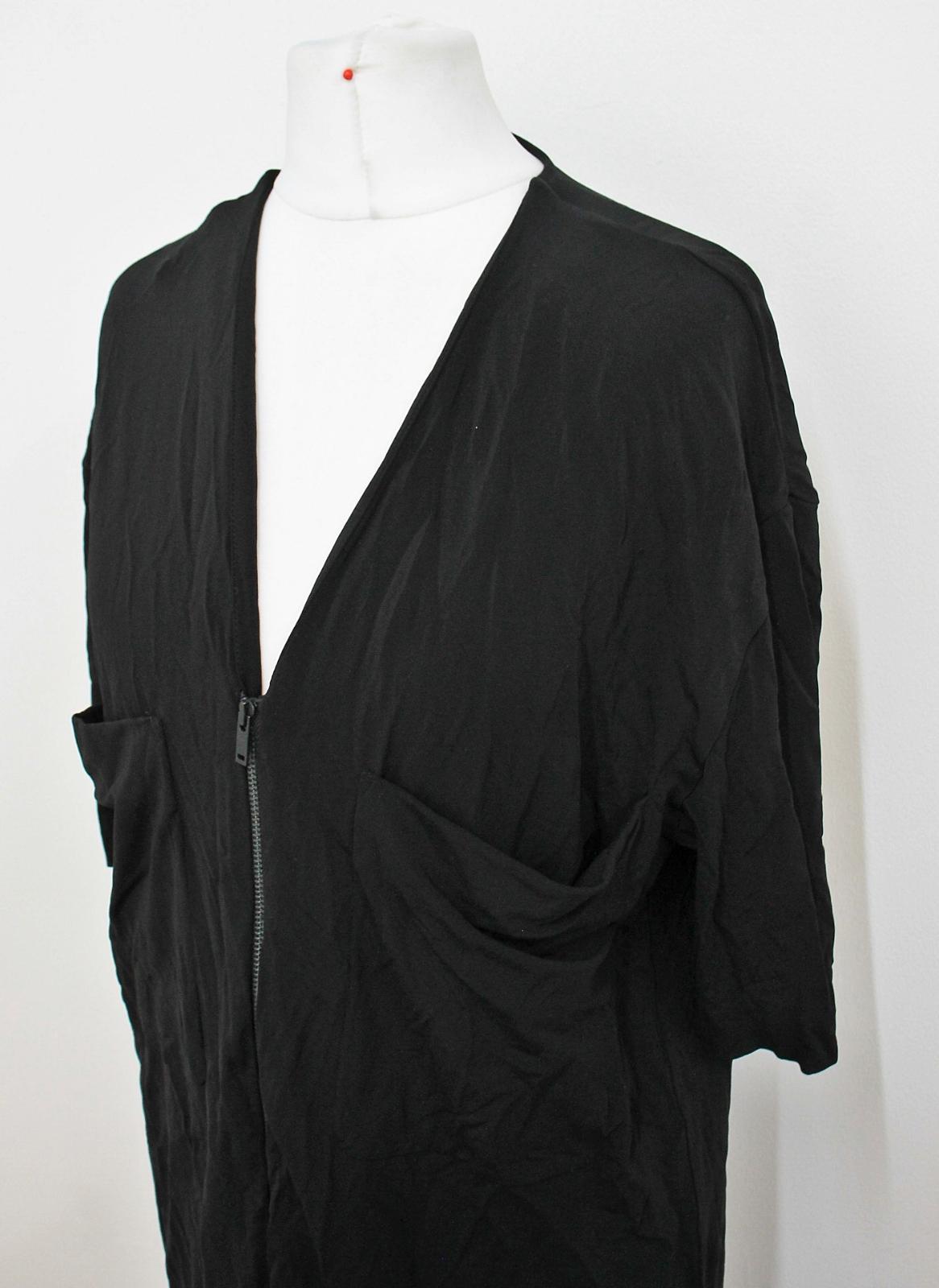 COS-Senoras-Negras-de-manga-corta-escote-V-con-cremallera-frontal-Cambio-Vestido-Talla-XS miniatura 7