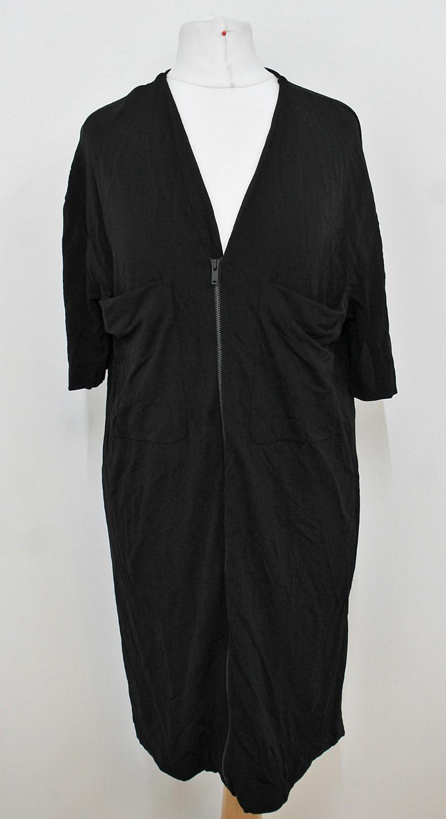COS-Senoras-Negras-de-manga-corta-escote-V-con-cremallera-frontal-Cambio-Vestido-Talla-XS miniatura 12