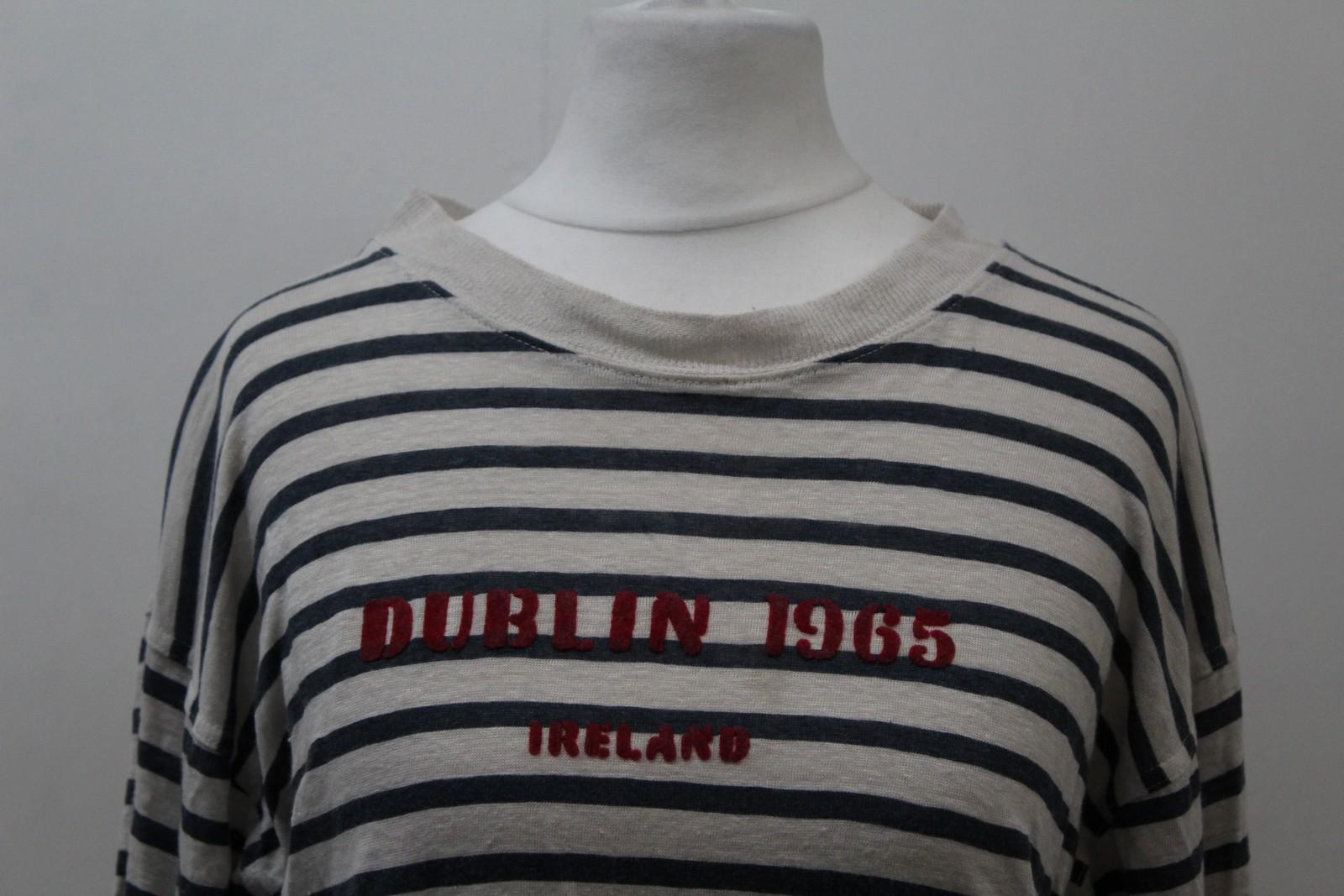 ISABEL-MARANT-ETOILE-Damas-Marfil-Lino-Mangas-Largas-Franjas-Dublin-1965-Top-S miniatura 3