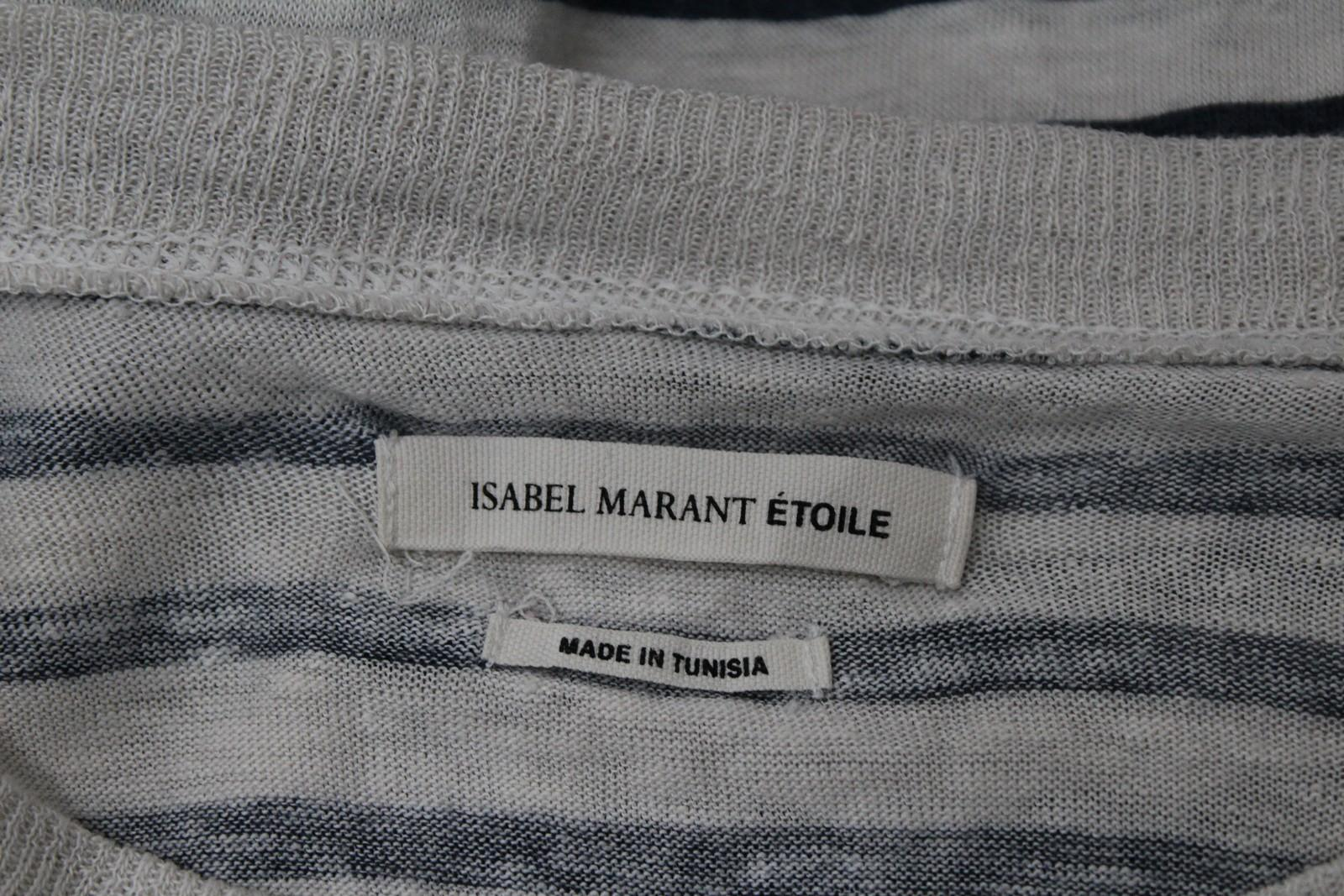 ISABEL-MARANT-ETOILE-Damas-Marfil-Lino-Mangas-Largas-Franjas-Dublin-1965-Top-S miniatura 8