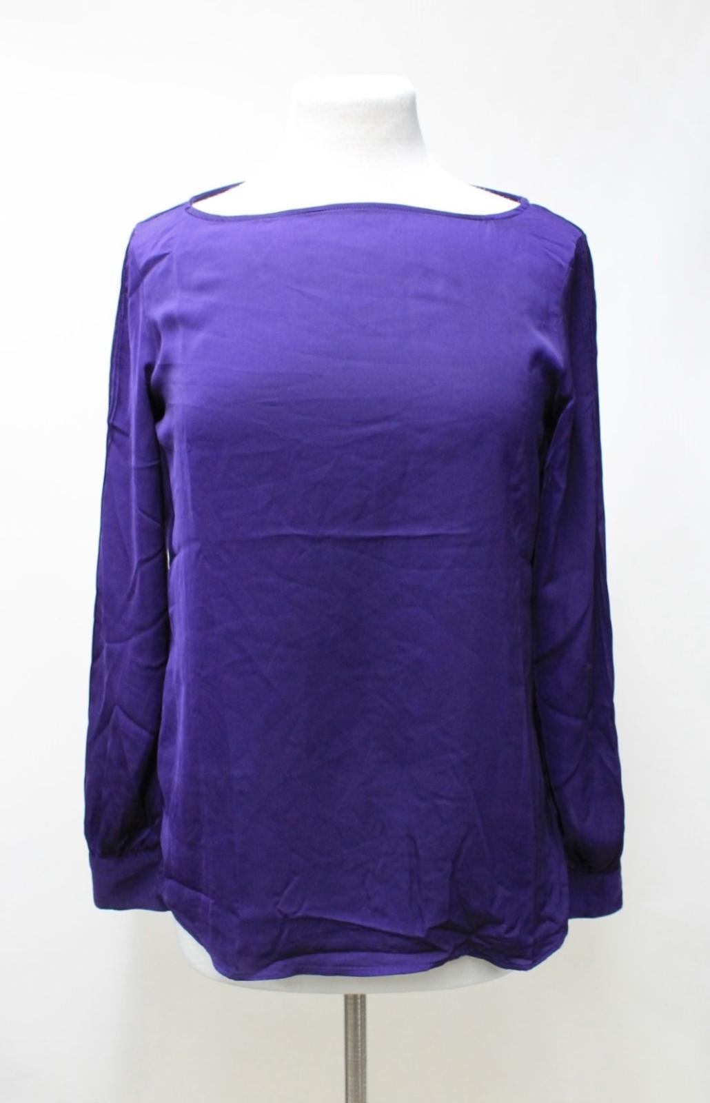 LAUREN-BY-RALPH-LAUREN-Ladies-Purple-Satin-Pleated-Sleeve-Round-Neck-Top-S thumbnail 2