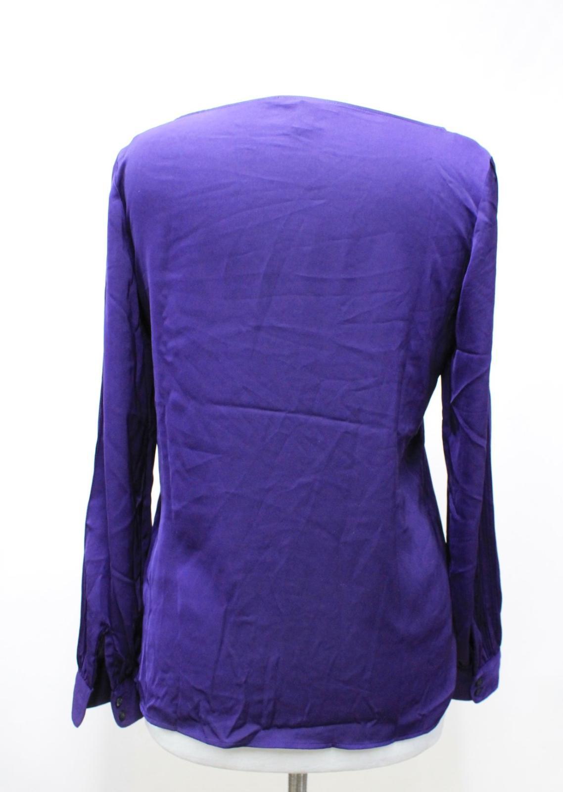 LAUREN-BY-RALPH-LAUREN-Ladies-Purple-Satin-Pleated-Sleeve-Round-Neck-Top-S thumbnail 3