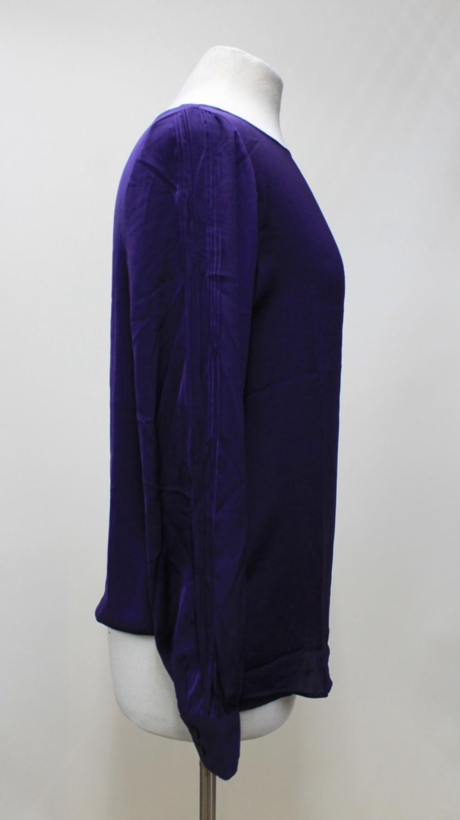 LAUREN-BY-RALPH-LAUREN-Ladies-Purple-Satin-Pleated-Sleeve-Round-Neck-Top-S thumbnail 4