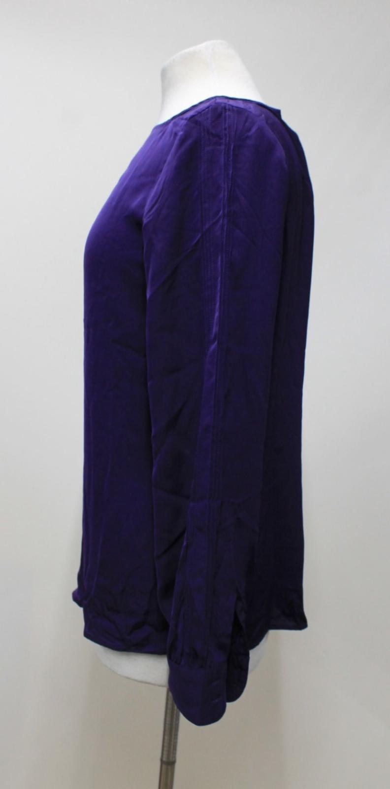 LAUREN-BY-RALPH-LAUREN-Ladies-Purple-Satin-Pleated-Sleeve-Round-Neck-Top-S thumbnail 5