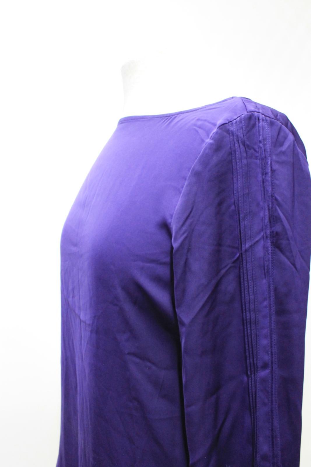 LAUREN-BY-RALPH-LAUREN-Ladies-Purple-Satin-Pleated-Sleeve-Round-Neck-Top-S thumbnail 6