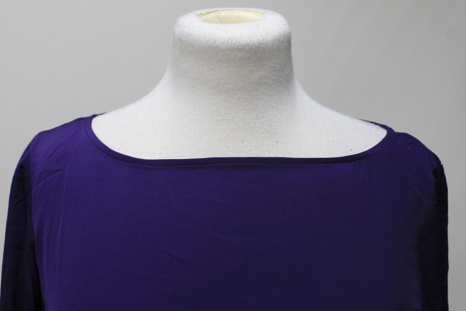 LAUREN-BY-RALPH-LAUREN-Ladies-Purple-Satin-Pleated-Sleeve-Round-Neck-Top-S thumbnail 7