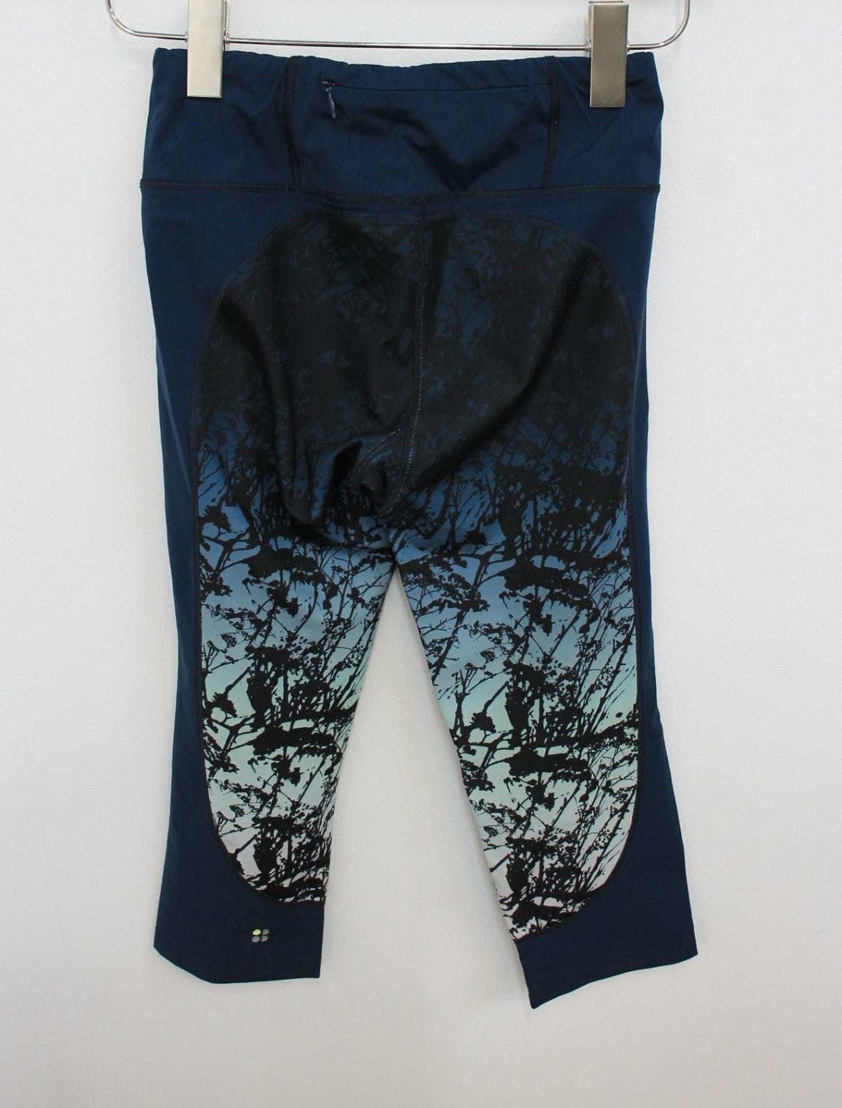 Sweaty-Betty-Damas-Azul-Oscuro-Impreso-Negro-Recortada-Leggings-Talla-S-W26-L18 miniatura 3
