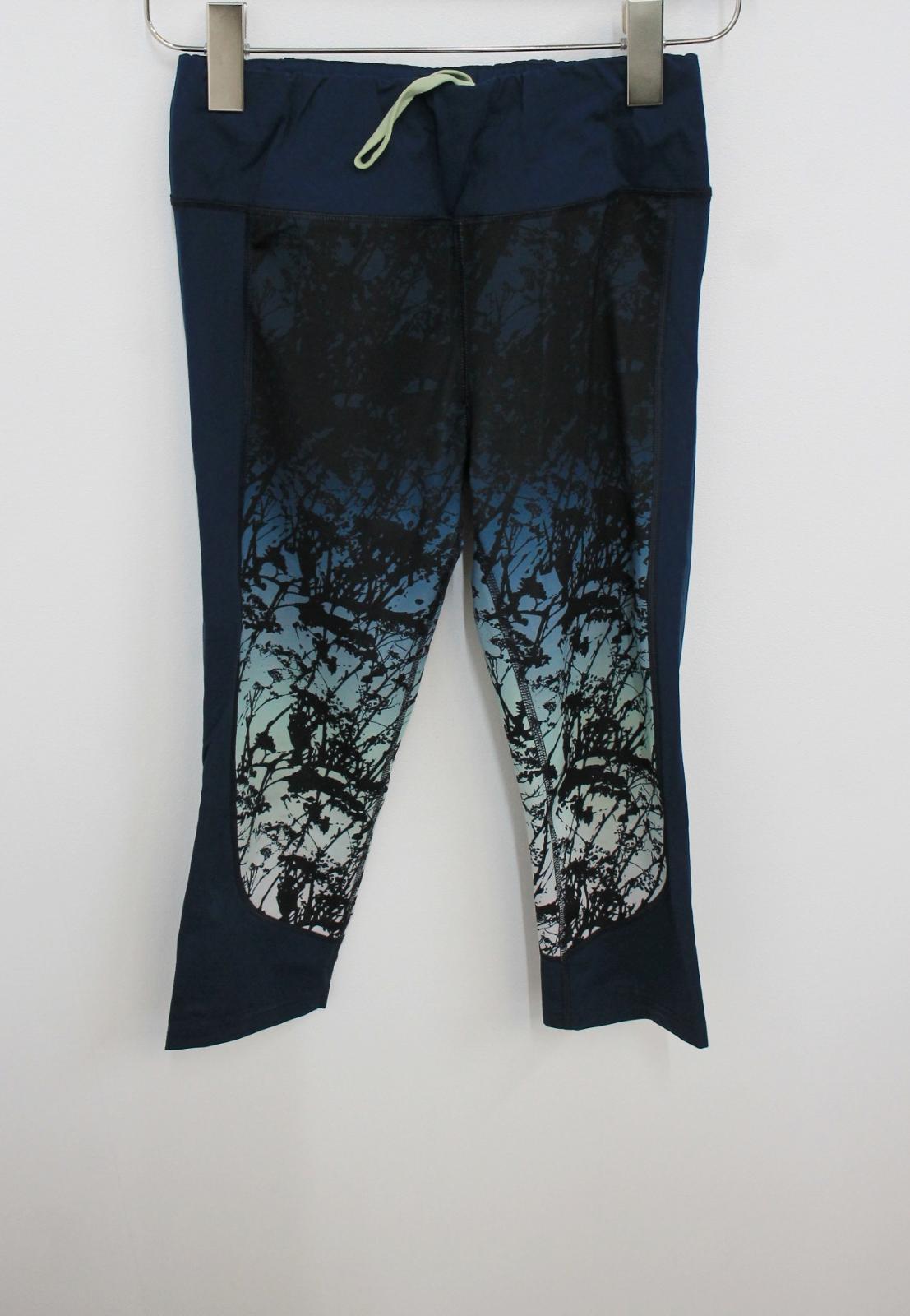 Sweaty-Betty-Damas-Azul-Oscuro-Impreso-Negro-Recortada-Leggings-Talla-S-W26-L18 miniatura 11