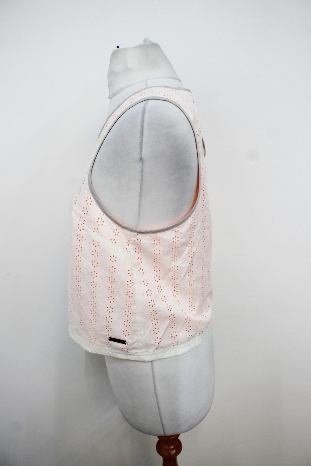 Sweaty-Betty-senoras-capas-de-malla-naranja-Marfil-Sin-Mangas-Chaleco-Top-Talla-XS miniatura 5