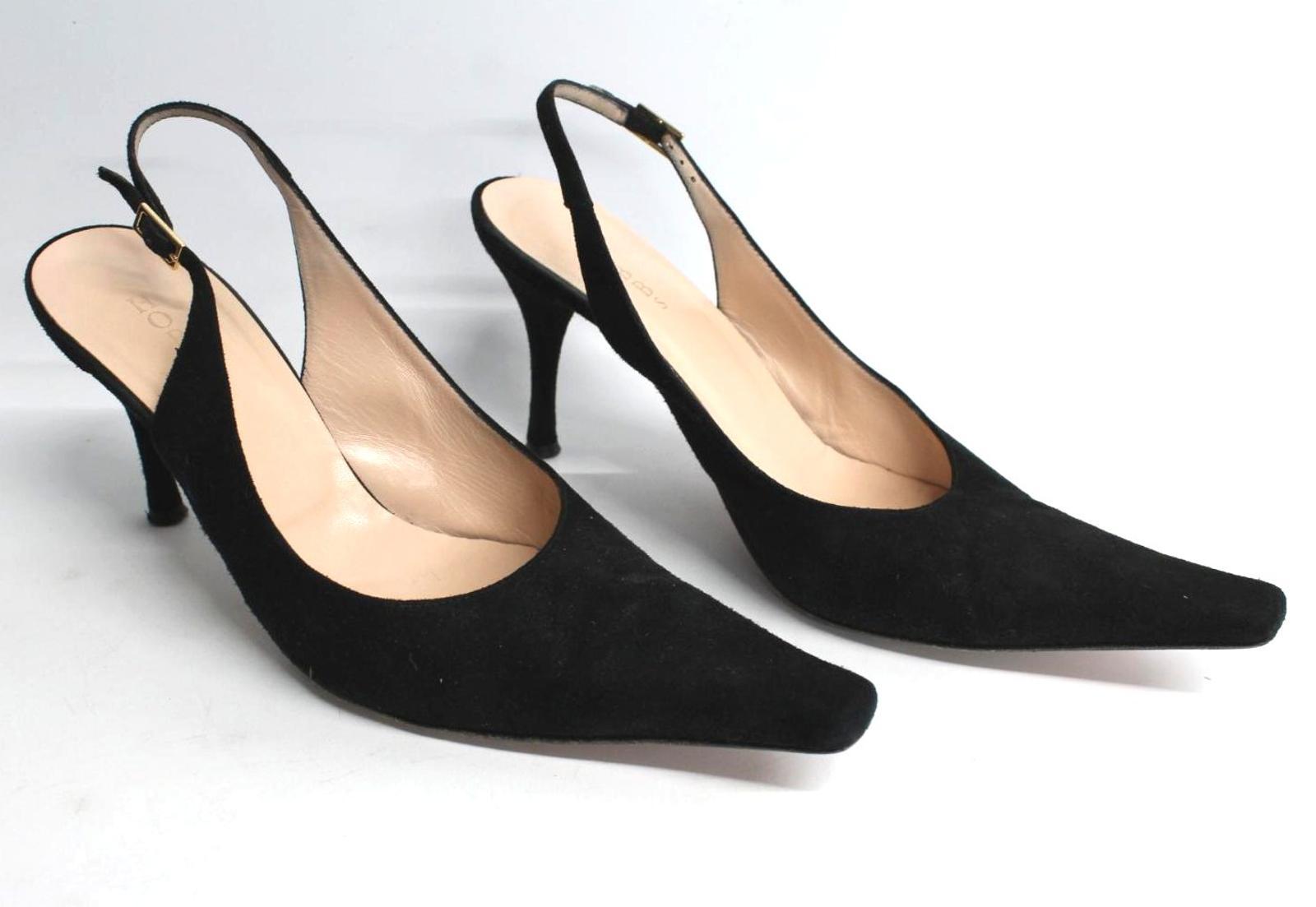 Hobbs-femmes-en-daim-noir-Sling-Arriere-bout-pointu-et-talon-aiguille-Chaussure-UK6-5-EU39-5 miniature 2