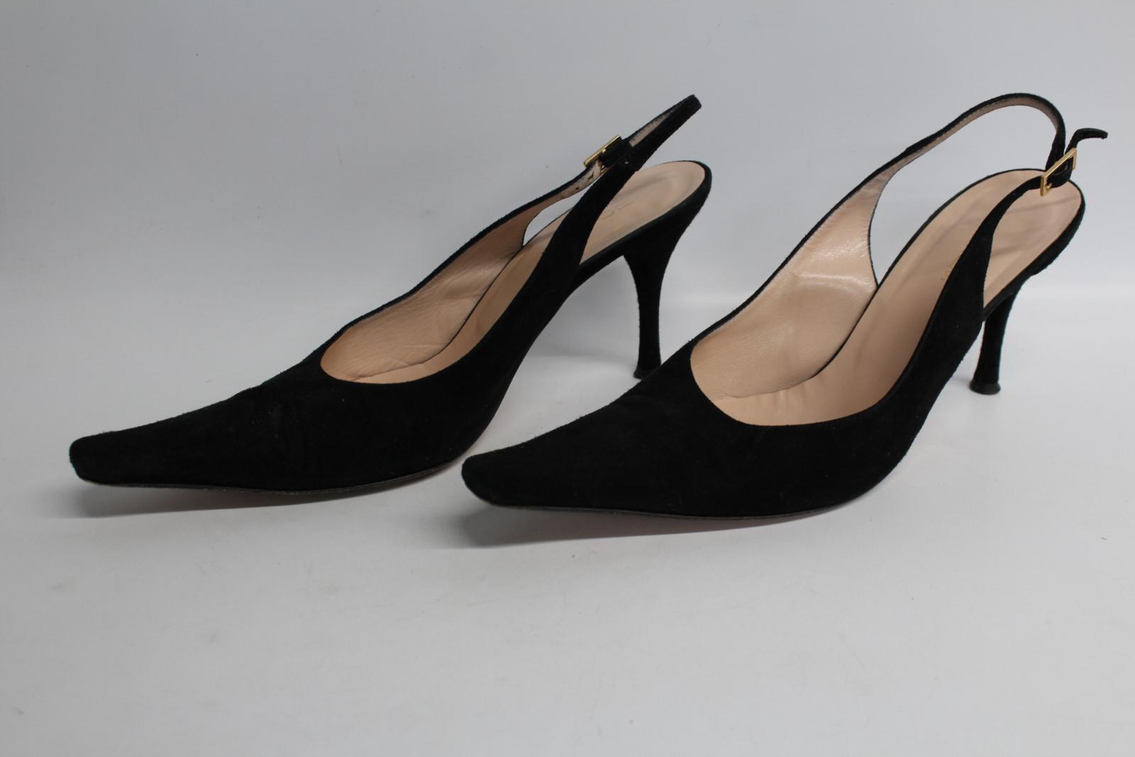 Hobbs-femmes-en-daim-noir-Sling-Arriere-bout-pointu-et-talon-aiguille-Chaussure-UK6-5-EU39-5 miniature 3
