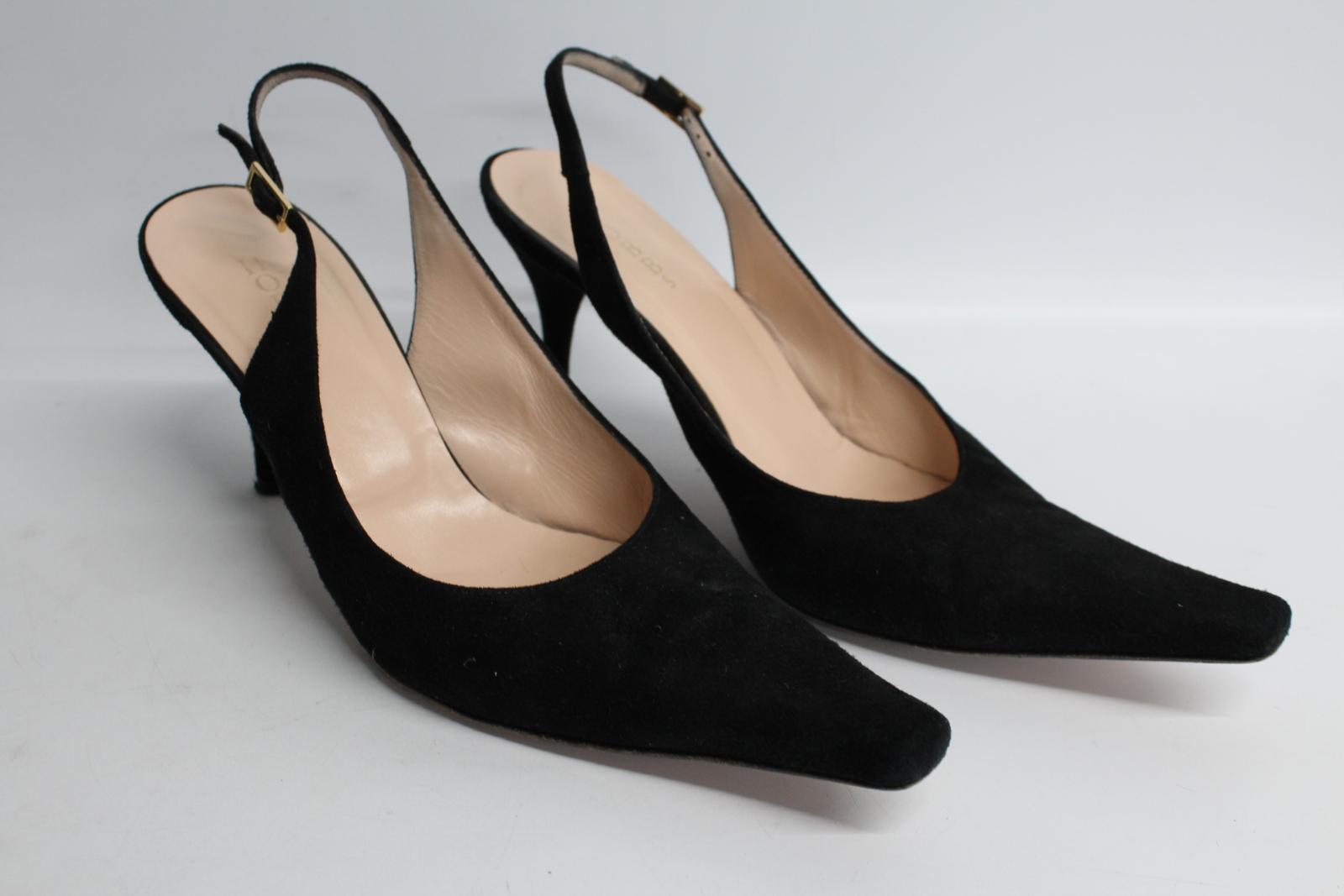 Hobbs-femmes-en-daim-noir-Sling-Arriere-bout-pointu-et-talon-aiguille-Chaussure-UK6-5-EU39-5 miniature 4