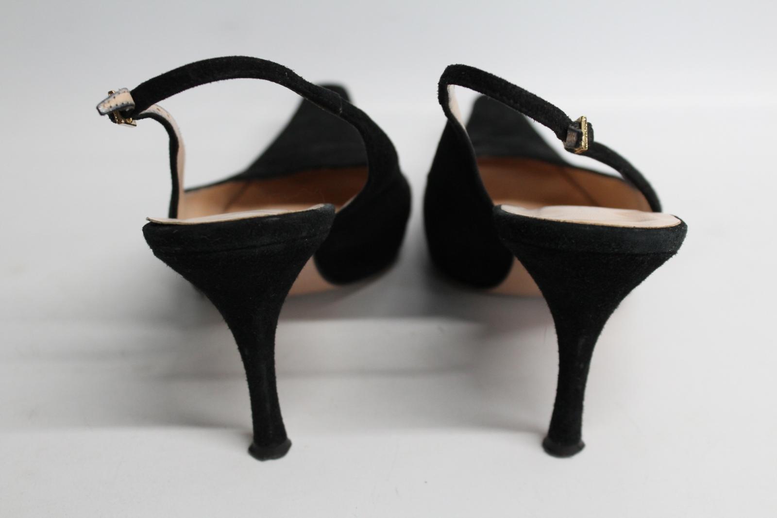 Hobbs-femmes-en-daim-noir-Sling-Arriere-bout-pointu-et-talon-aiguille-Chaussure-UK6-5-EU39-5 miniature 6
