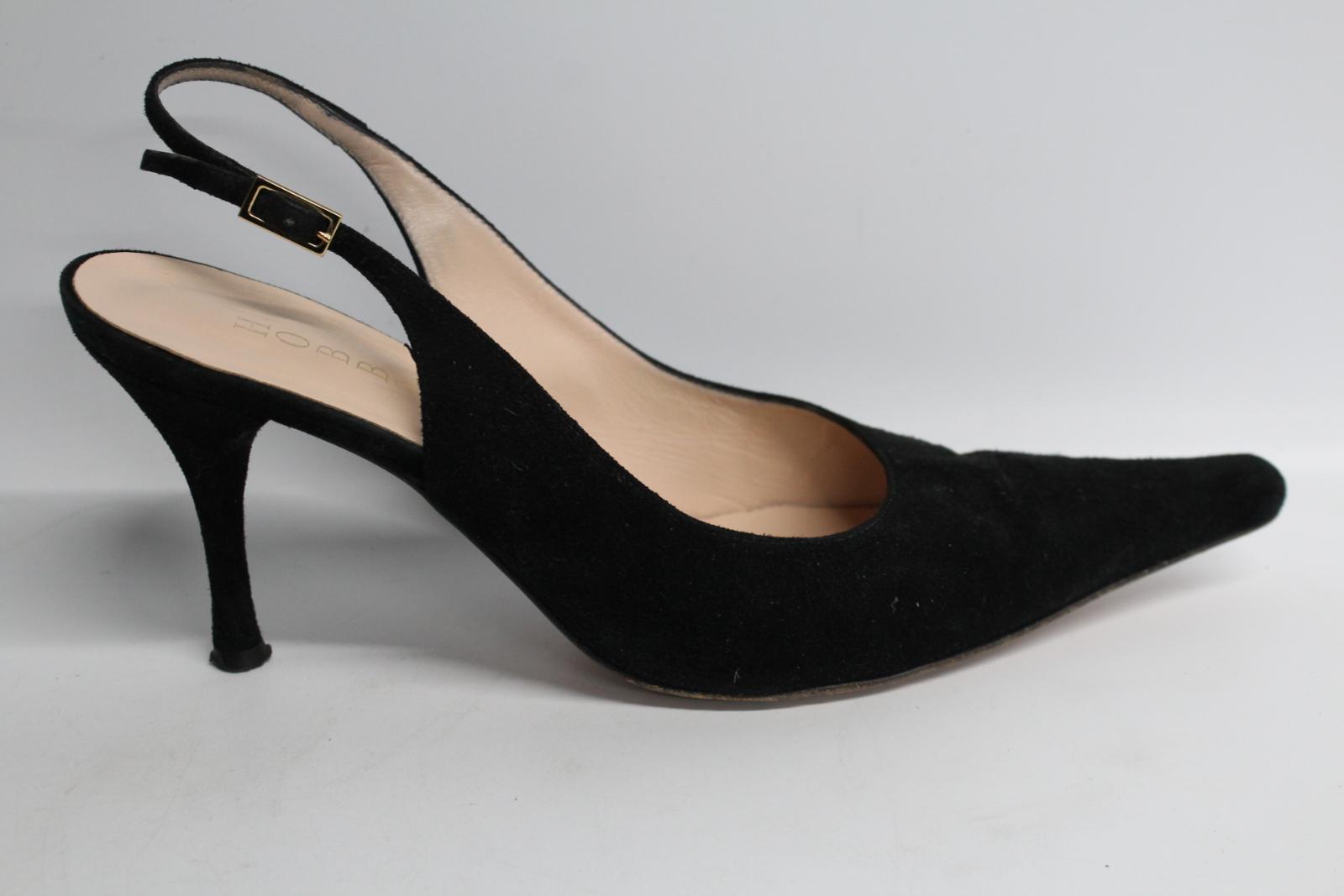 Hobbs-femmes-en-daim-noir-Sling-Arriere-bout-pointu-et-talon-aiguille-Chaussure-UK6-5-EU39-5 miniature 9