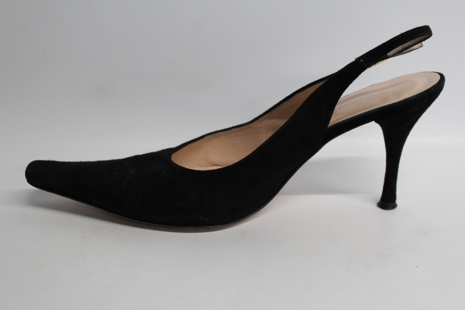 Hobbs-femmes-en-daim-noir-Sling-Arriere-bout-pointu-et-talon-aiguille-Chaussure-UK6-5-EU39-5 miniature 10