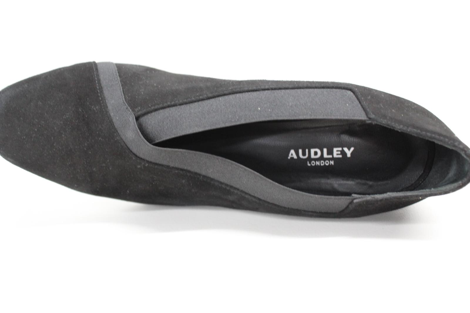 AUDLEY-London-Ladies-Black-Suede-Crossover-Block-Heels-Shoes-Size-EU39-UK6 thumbnail 6