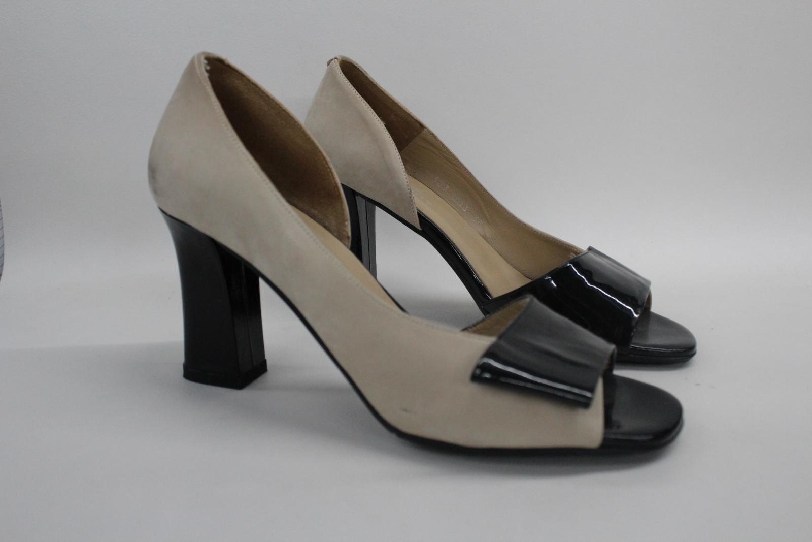 AUDLEY-London-Beige-Leather-Open-Peep-Toe-Bloc-Heel-Court-Shoes-EU39-UK6 thumbnail 2