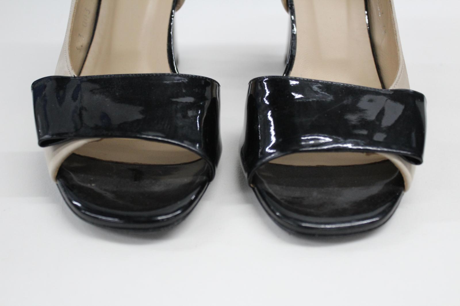 AUDLEY-London-Beige-Leather-Open-Peep-Toe-Bloc-Heel-Court-Shoes-EU39-UK6 thumbnail 4