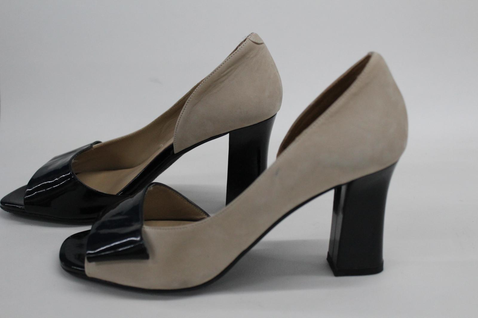AUDLEY-London-Beige-Leather-Open-Peep-Toe-Bloc-Heel-Court-Shoes-EU39-UK6 thumbnail 6