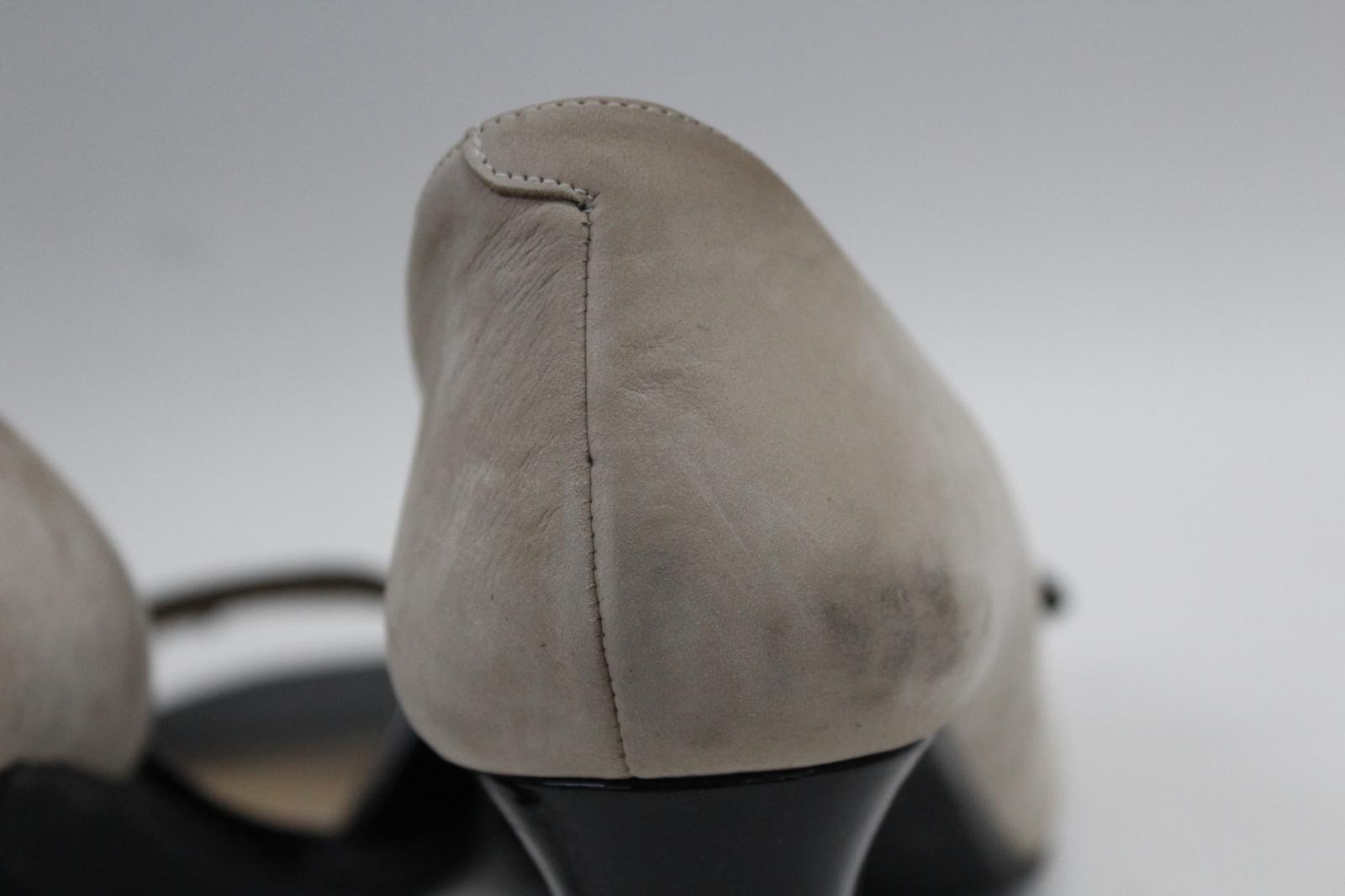 AUDLEY-London-Beige-Leather-Open-Peep-Toe-Bloc-Heel-Court-Shoes-EU39-UK6 thumbnail 7