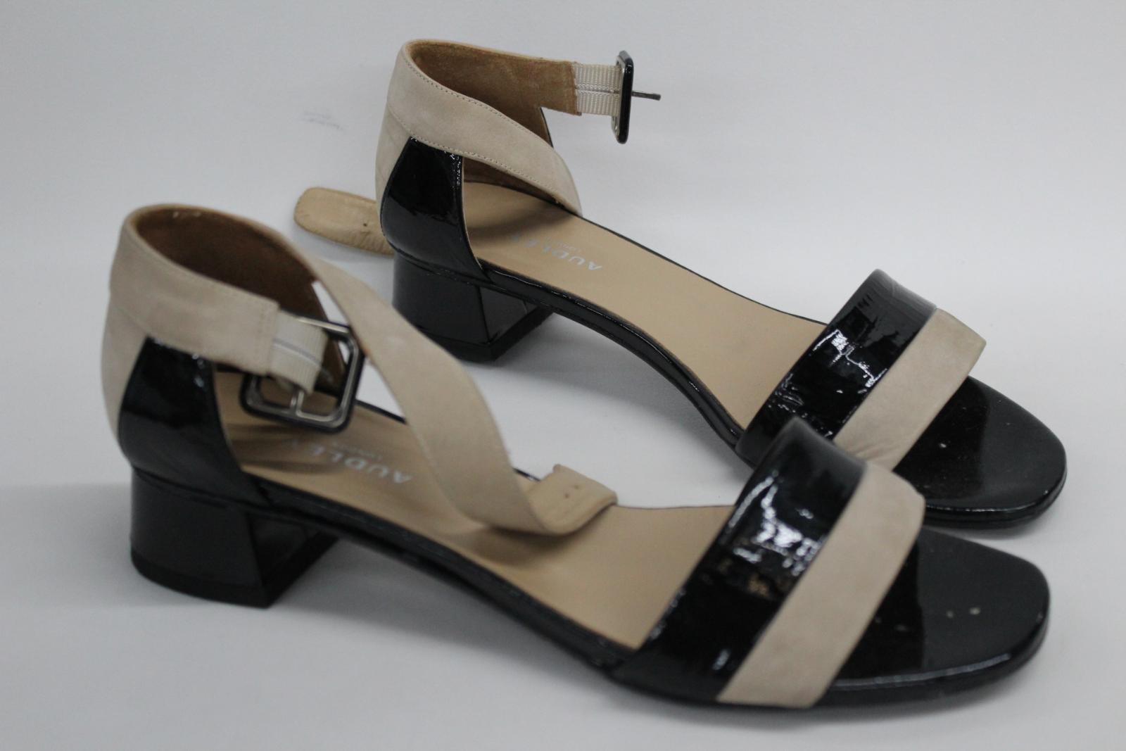AUDLEY-London-Ladies-Black-amp-Beige-Ankle-Strap-Mid-Heel-Sandal-Shoes-EU39-UK6 thumbnail 2