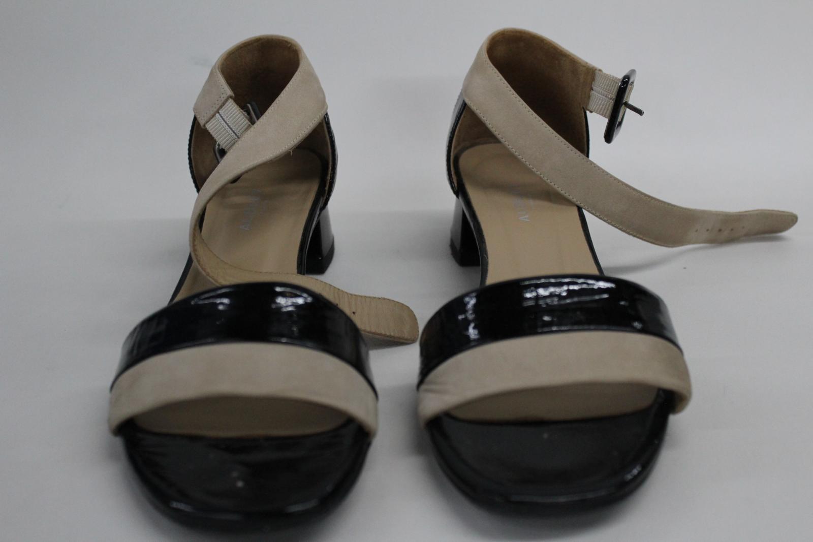 AUDLEY-London-Ladies-Black-amp-Beige-Ankle-Strap-Mid-Heel-Sandal-Shoes-EU39-UK6 thumbnail 3