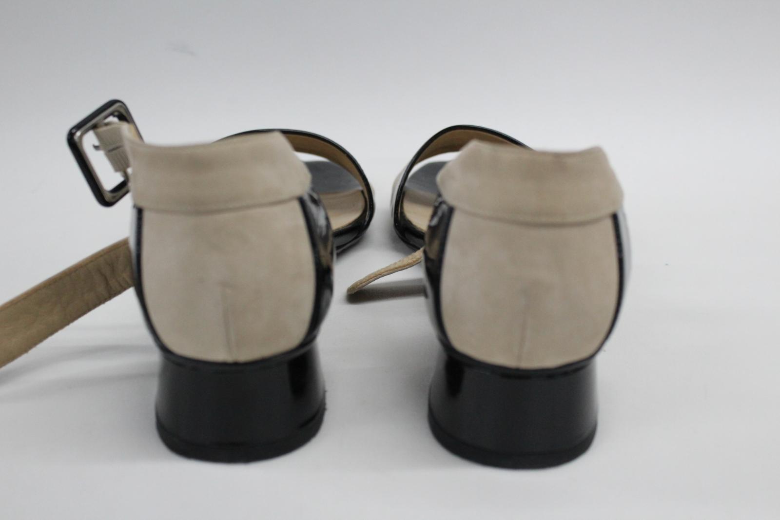 AUDLEY-London-Ladies-Black-amp-Beige-Ankle-Strap-Mid-Heel-Sandal-Shoes-EU39-UK6 thumbnail 4