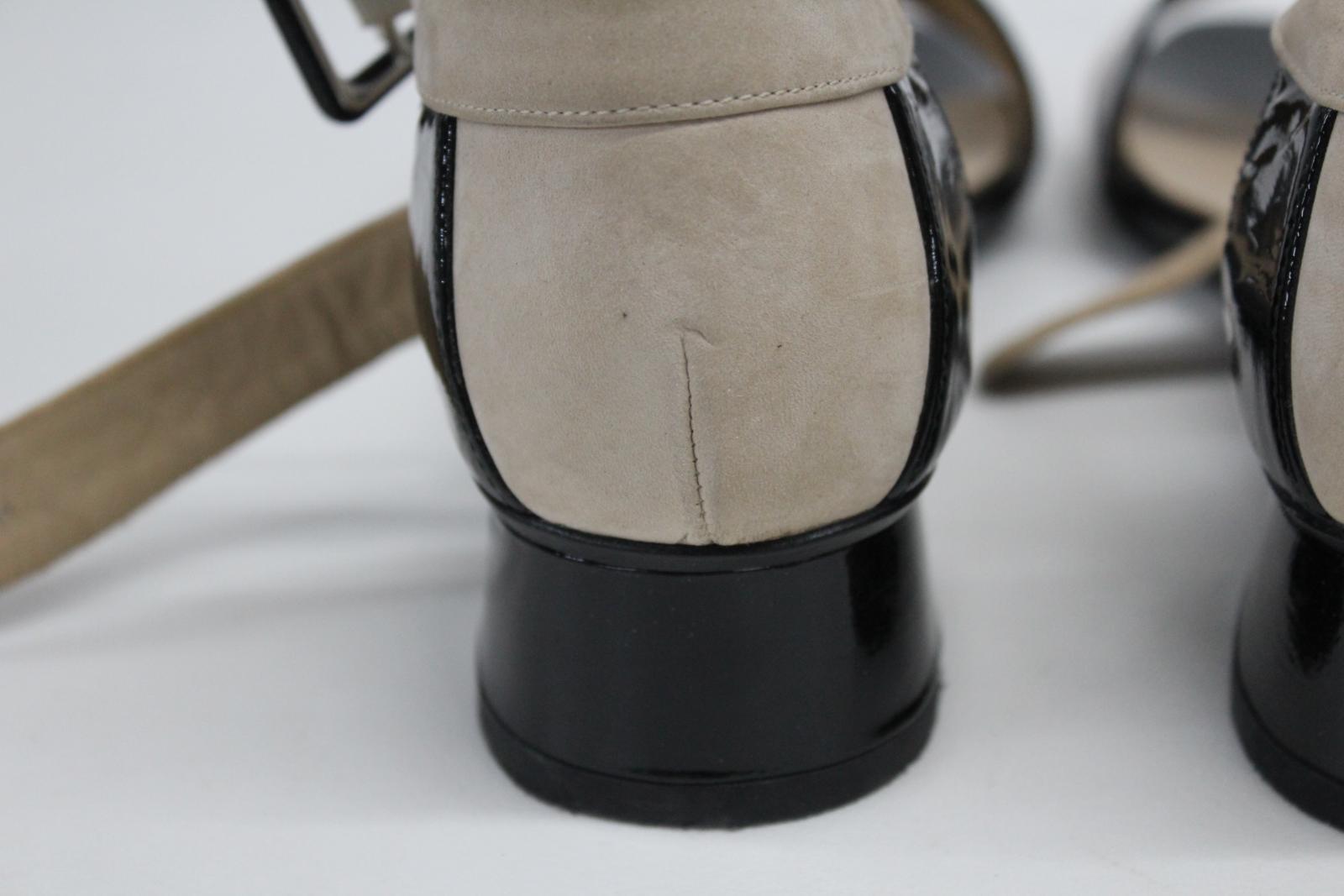 AUDLEY-London-Ladies-Black-amp-Beige-Ankle-Strap-Mid-Heel-Sandal-Shoes-EU39-UK6 thumbnail 5
