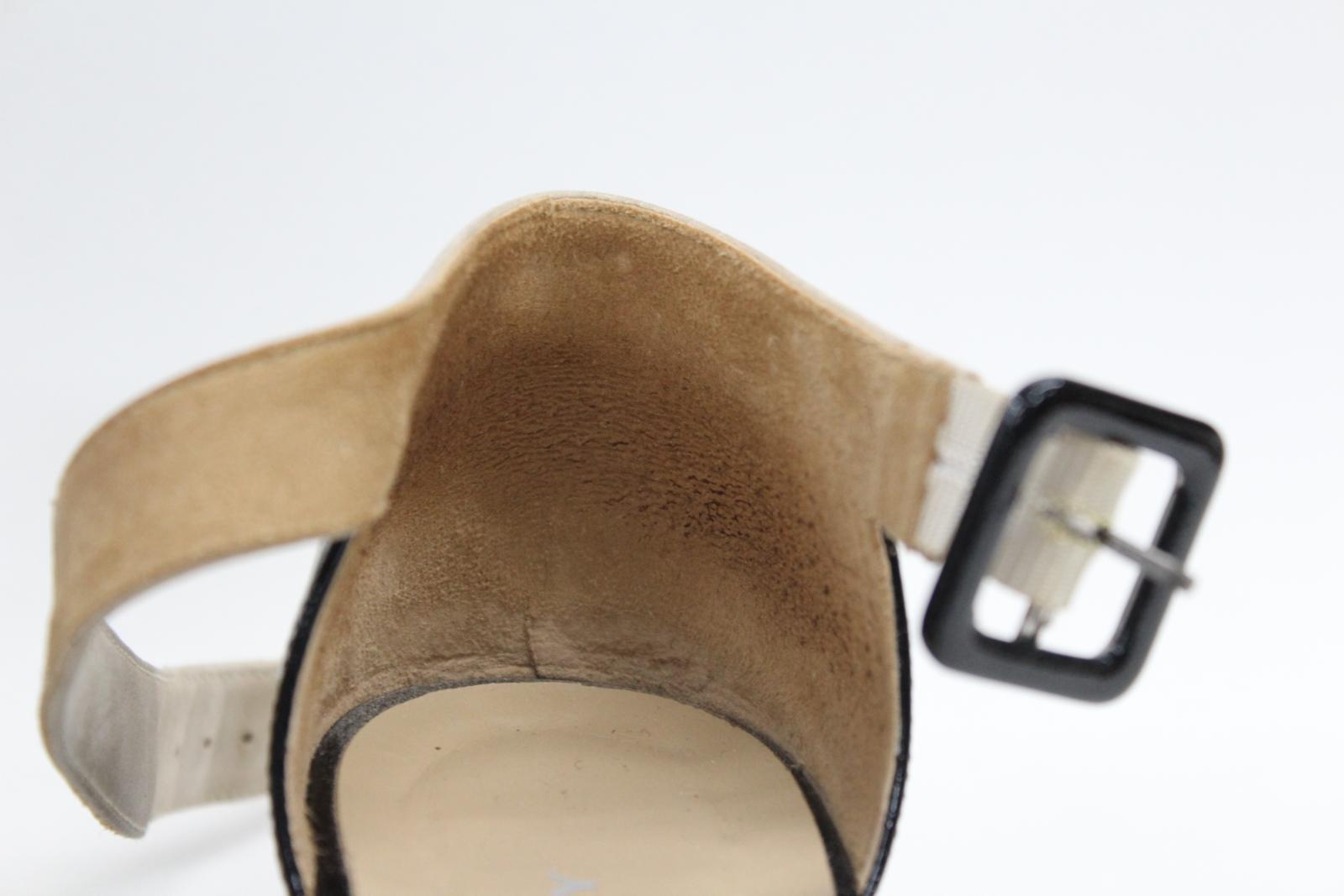 AUDLEY-London-Ladies-Black-amp-Beige-Ankle-Strap-Mid-Heel-Sandal-Shoes-EU39-UK6 thumbnail 7