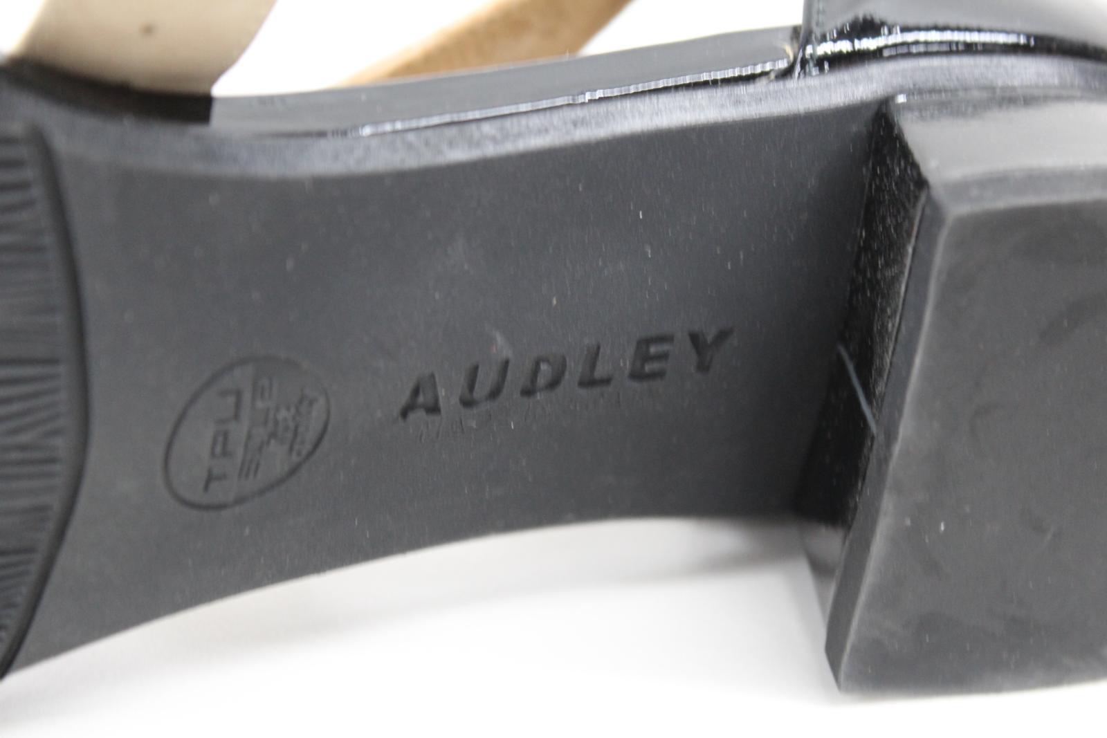 AUDLEY-London-Ladies-Black-amp-Beige-Ankle-Strap-Mid-Heel-Sandal-Shoes-EU39-UK6 thumbnail 8