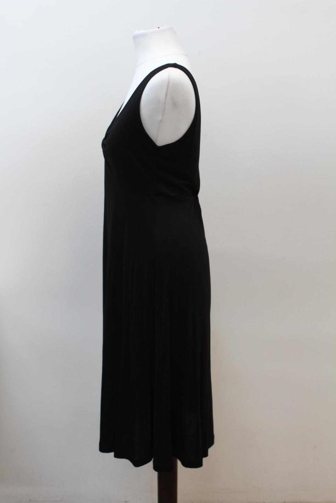 THE-WHITE-COMPANY-Ladies-Black-Sleeveless-V-Neck-Knot-Shift-Dress-Size-S thumbnail 6
