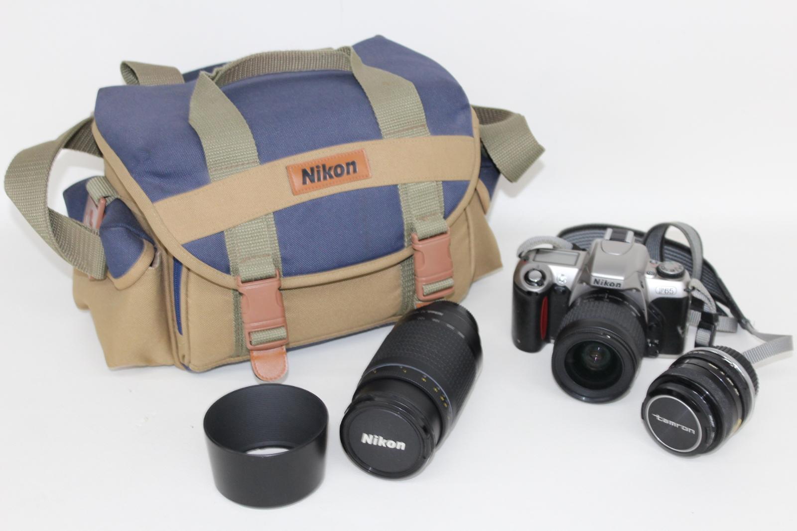 NIKON-F65-Camara-Con-Nikkor-28-80mm-y-70-300mm-y-Tamron-Hoya-Lentes-52mm miniatura 2