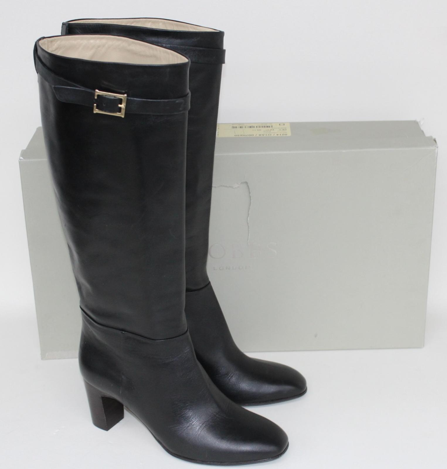 Hobbs-Senoras-Rodilla-Tacon-Maya-Cuero-Negro-Botas-De-Montar-UK8-EU41-Nuevo miniatura 2