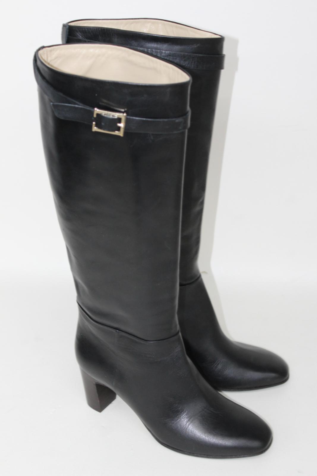 Hobbs-Senoras-Rodilla-Tacon-Maya-Cuero-Negro-Botas-De-Montar-UK8-EU41-Nuevo miniatura 4