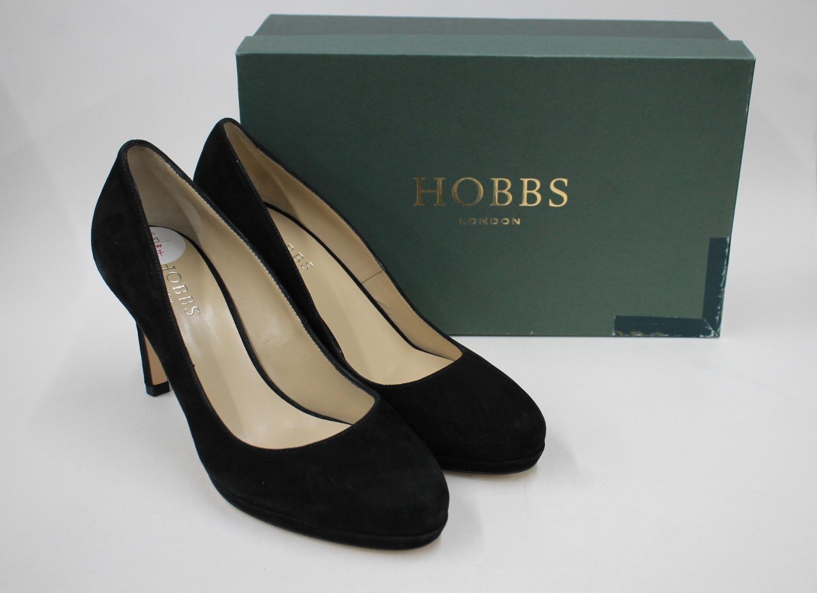 HOBBS Ladies Black Suede Leather Julietta Court Shoes Heels EU39 UK6 NEW