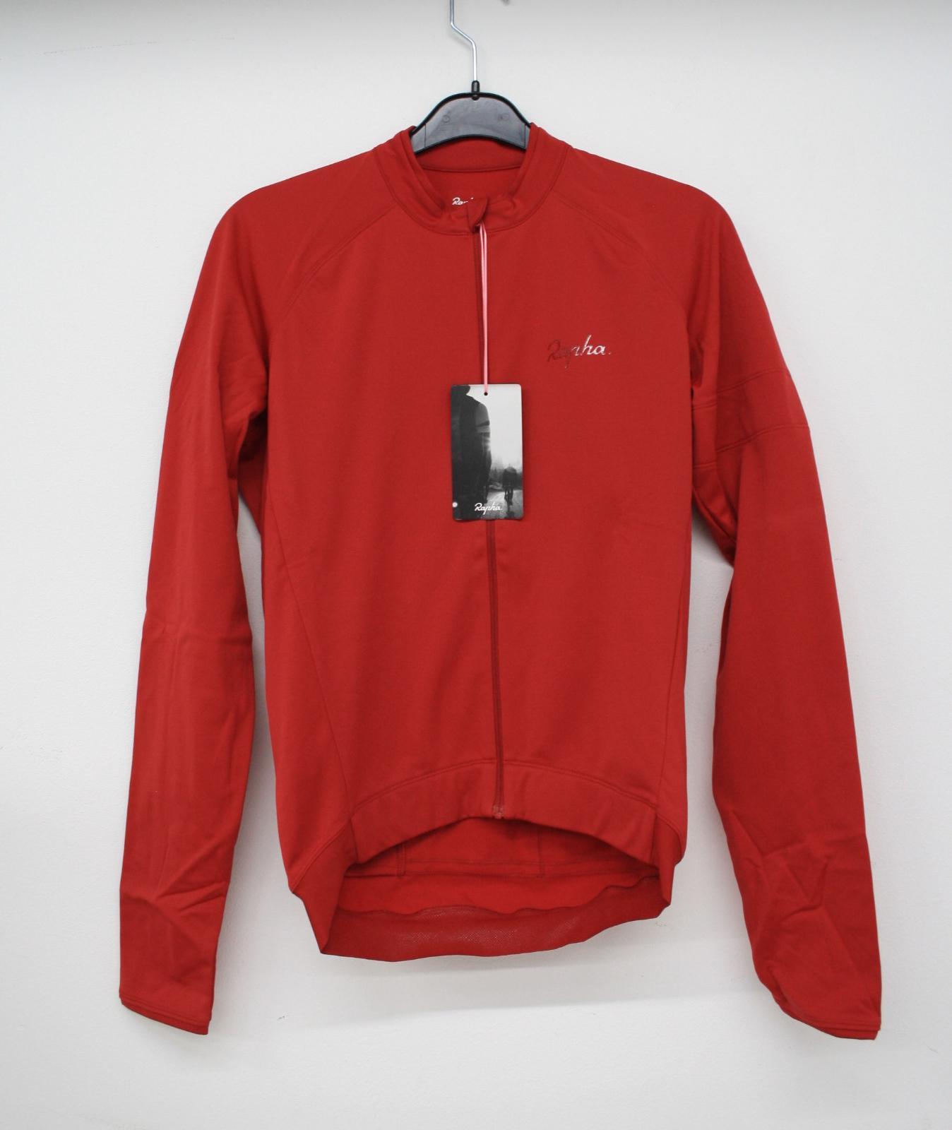 Homme RAPHA rouge à manches longues poches arrière cyclisme Core Jersey Taille S NEUF