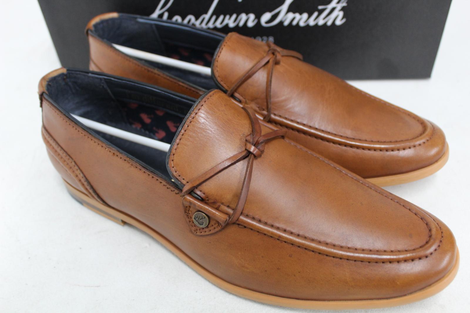 Goodwin-Smith-Para-Hombre-Napoli-Tanga-Zapato-Marron-Sin-Cordones-Mocasin-Cuero-UK8-EU42-Nuevo miniatura 4