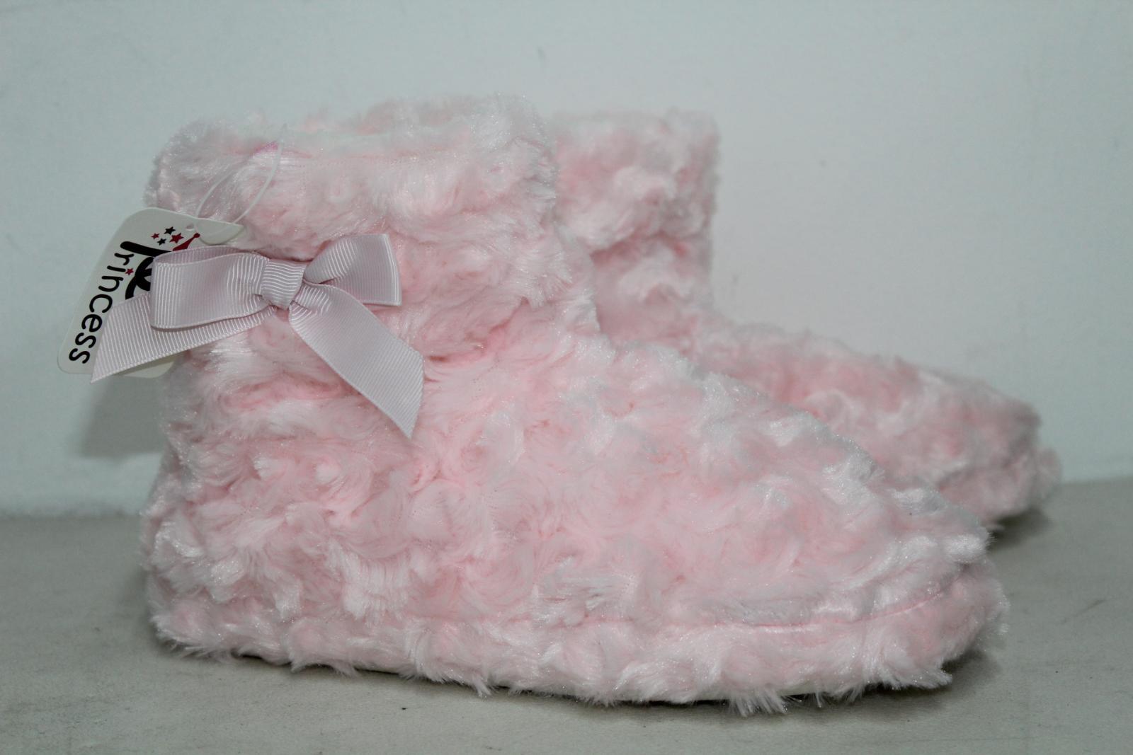 CHIC PRINCESS Girls Pink Fluffy Winter Warm Slipper Shoe Boots UK5 EU38 BNWT 2