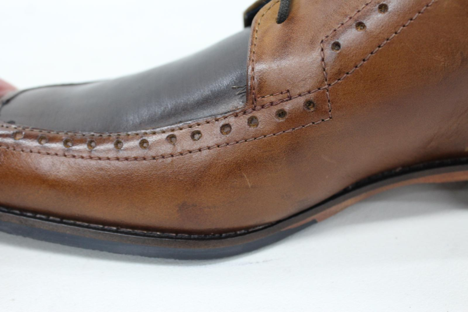 Goodwin-Smith-Homme-Knowle-deux-tons-marron-clair-Tablier-En-Cuir-Derby-Chaussures-UK8-Neuf miniature 9