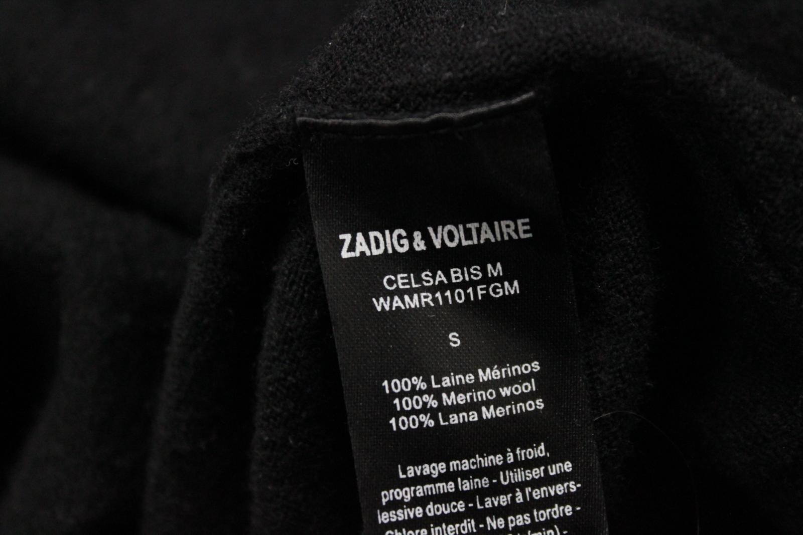 ZADIG-amp-VOLTAIRE-Black-Wool-Long-Sleeve-V-Neck-Sweater-Jumper-Size-Small miniature 10