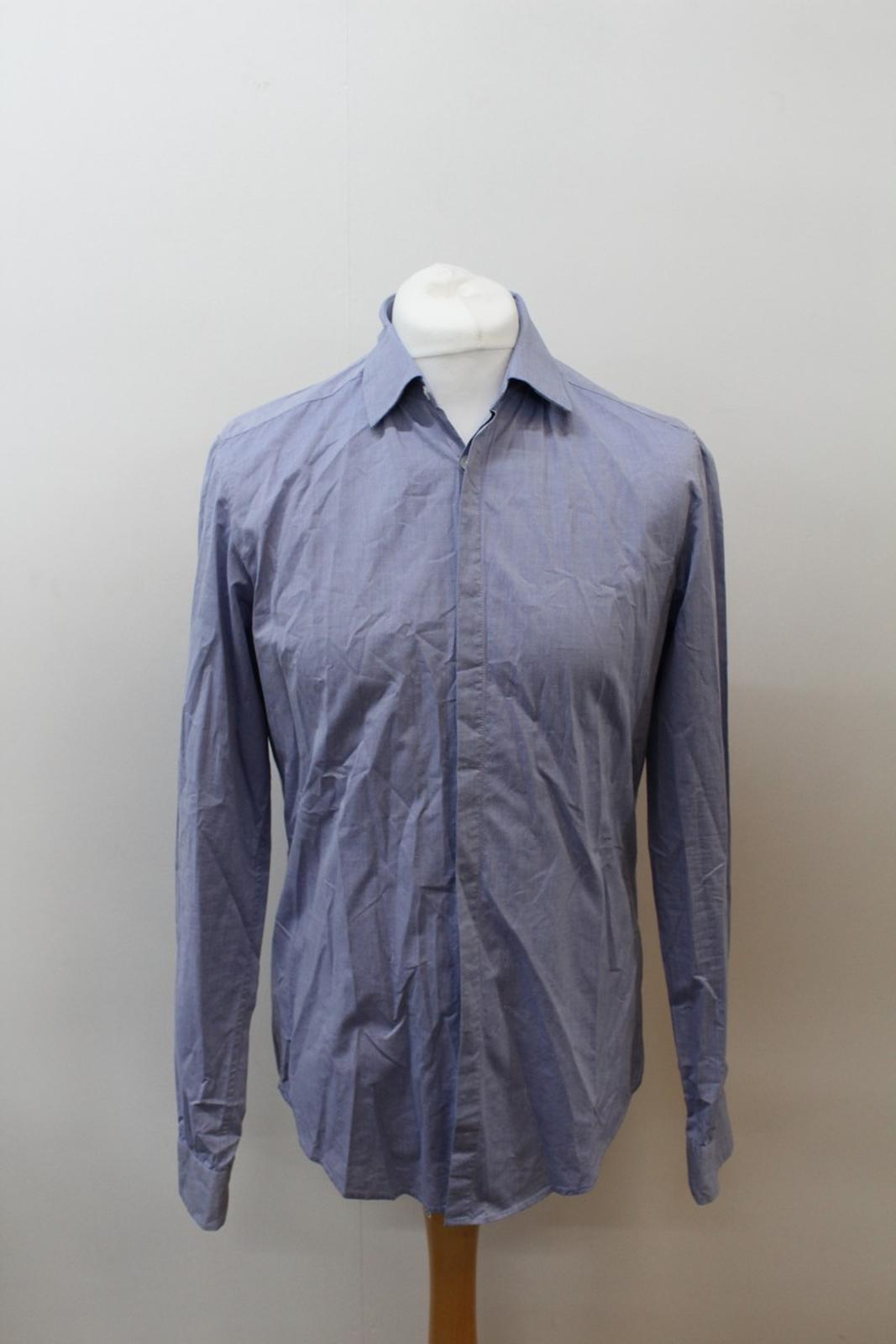 Boss-Orange-men-Azul-Algodon-Manga-Larga-Cuello-Con-Cuello-Informal-Camisa-Talla-M miniatura 2
