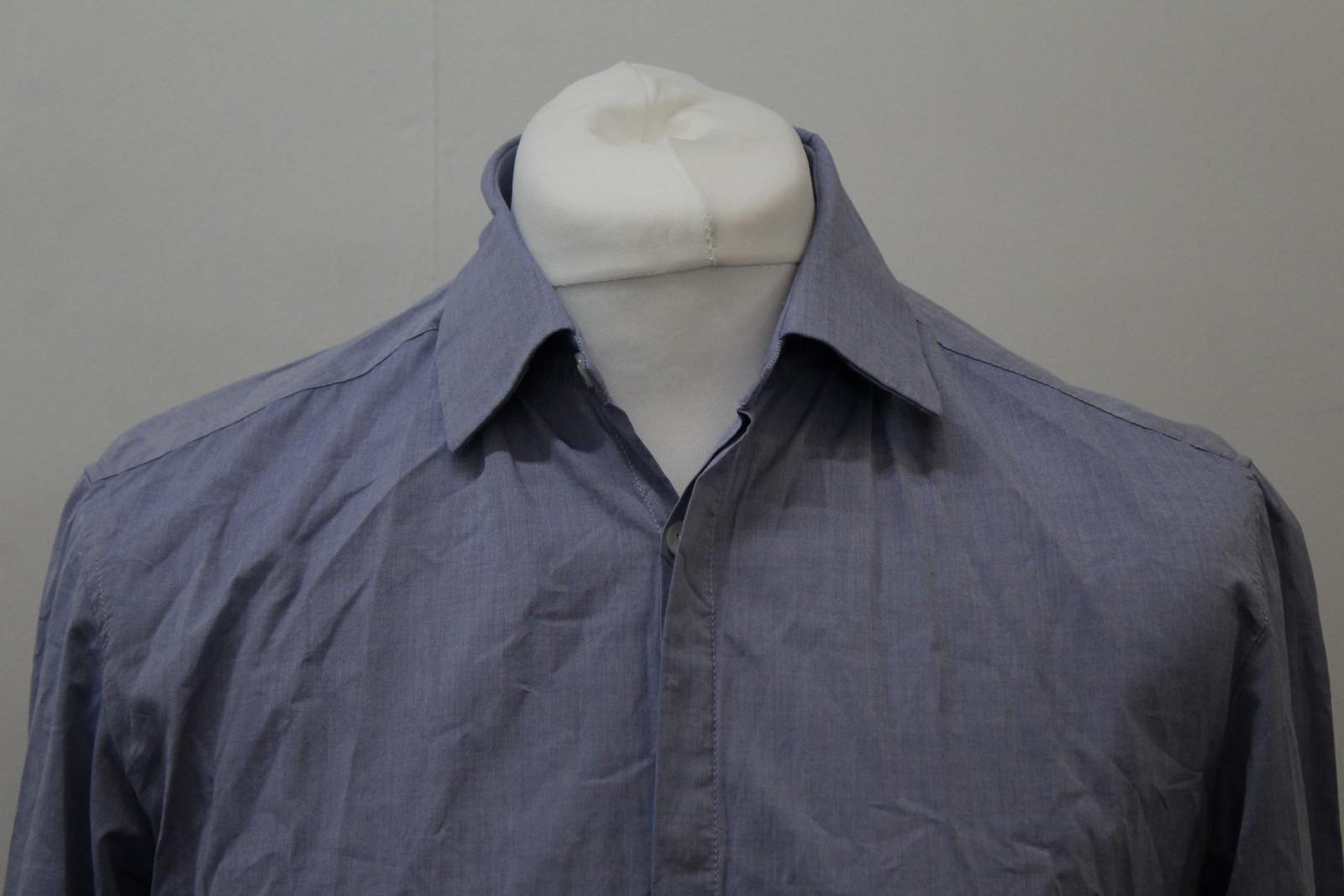Boss-Orange-men-Azul-Algodon-Manga-Larga-Cuello-Con-Cuello-Informal-Camisa-Talla-M miniatura 3