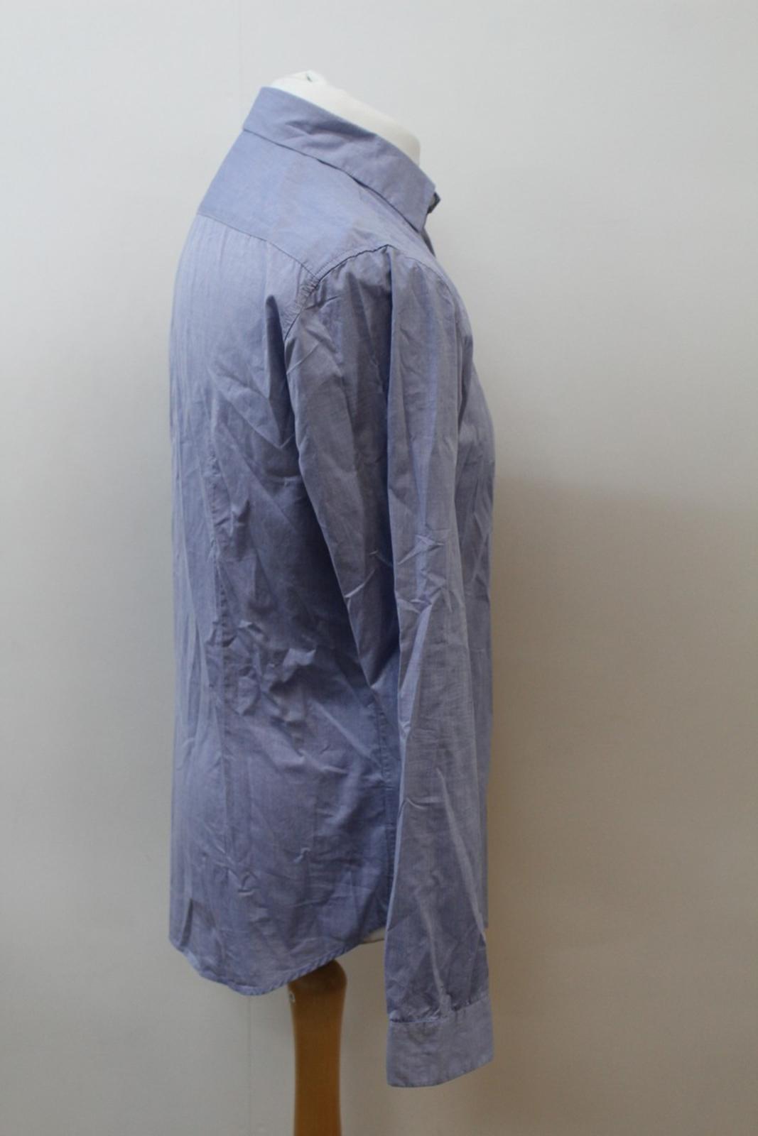 Boss-Orange-men-Azul-Algodon-Manga-Larga-Cuello-Con-Cuello-Informal-Camisa-Talla-M miniatura 4