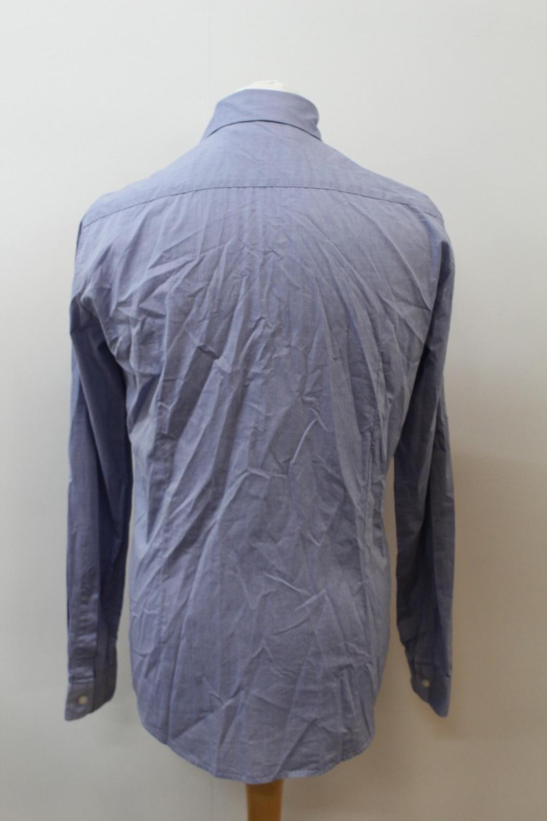 Boss-Orange-men-Azul-Algodon-Manga-Larga-Cuello-Con-Cuello-Informal-Camisa-Talla-M miniatura 5