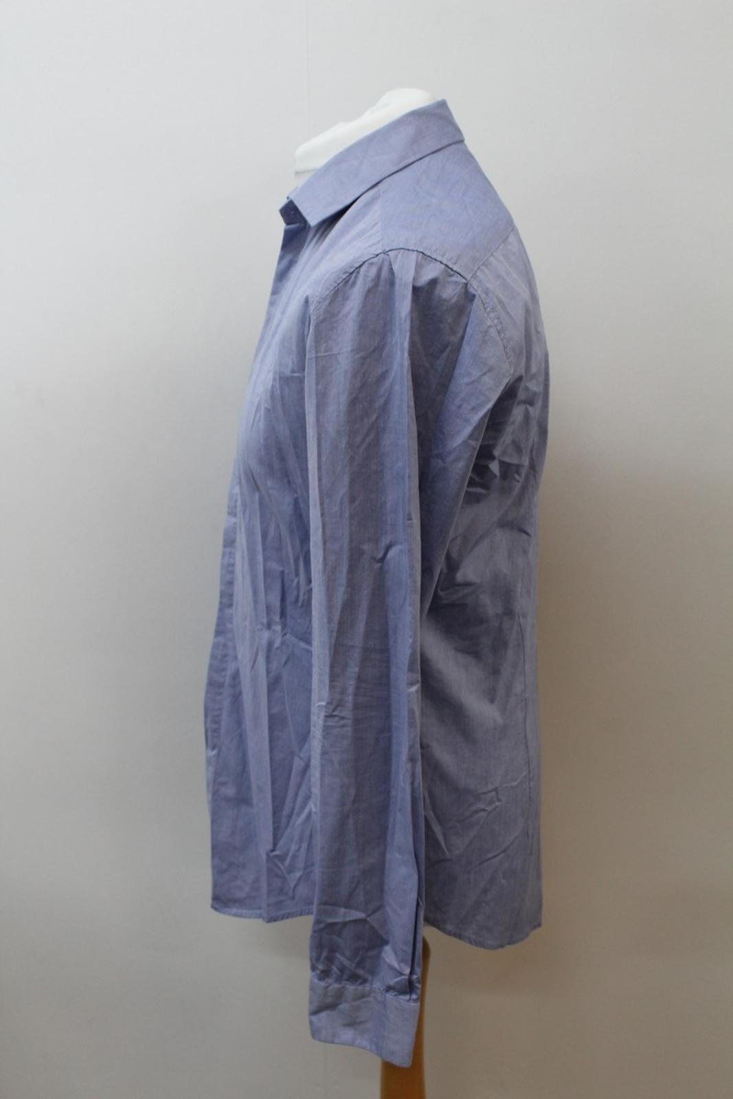 Boss-Orange-men-Azul-Algodon-Manga-Larga-Cuello-Con-Cuello-Informal-Camisa-Talla-M miniatura 6