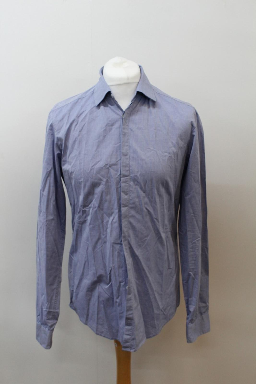 Boss-Orange-men-Azul-Algodon-Manga-Larga-Cuello-Con-Cuello-Informal-Camisa-Talla-M miniatura 7