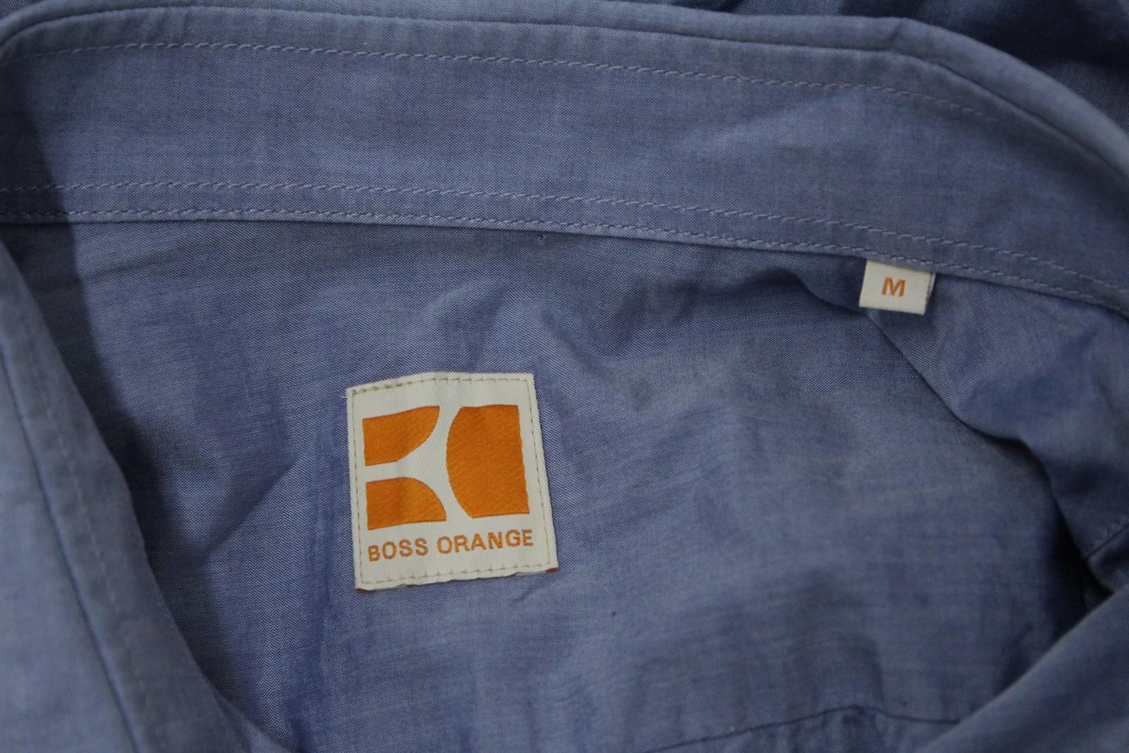 Boss-Orange-men-Azul-Algodon-Manga-Larga-Cuello-Con-Cuello-Informal-Camisa-Talla-M miniatura 8