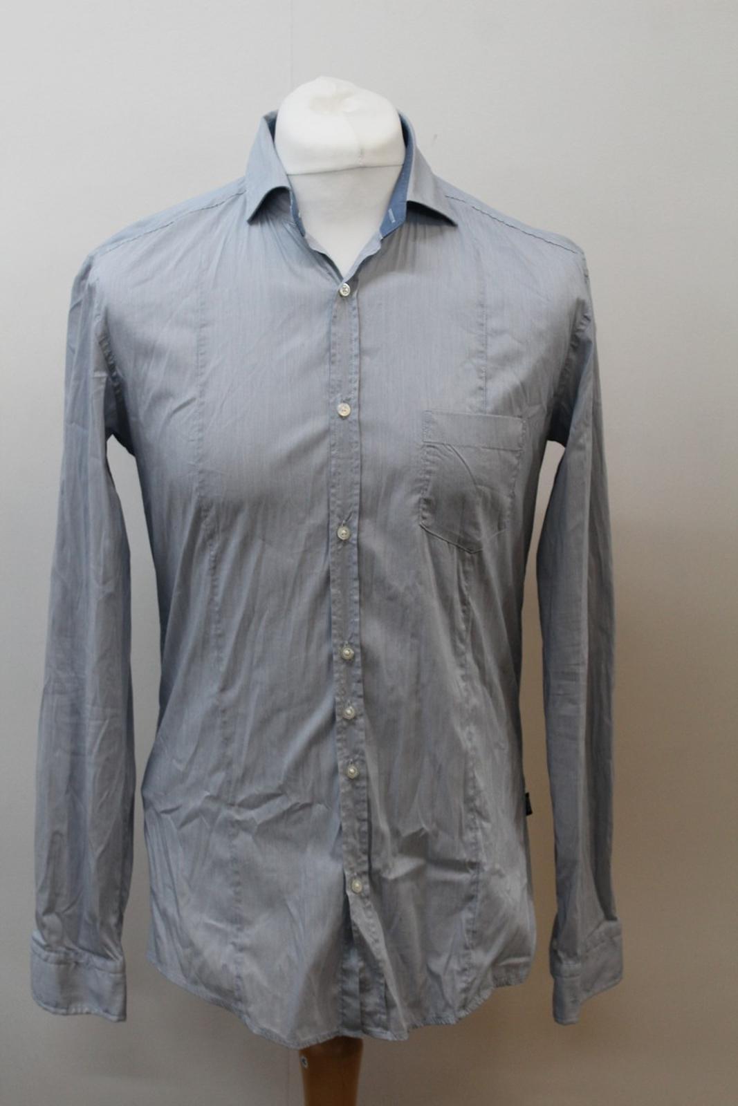 Hugo-Boss-Para-Hombre-Azul-Mezcla-De-Algodon-Manga-Larga-a-Rayas-Calce-Ajustado-Camisa-Informal-M miniatura 2