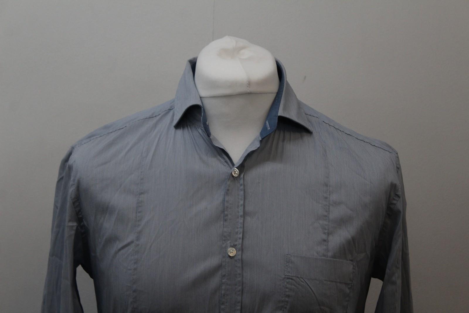 Hugo-Boss-Para-Hombre-Azul-Mezcla-De-Algodon-Manga-Larga-a-Rayas-Calce-Ajustado-Camisa-Informal-M miniatura 3