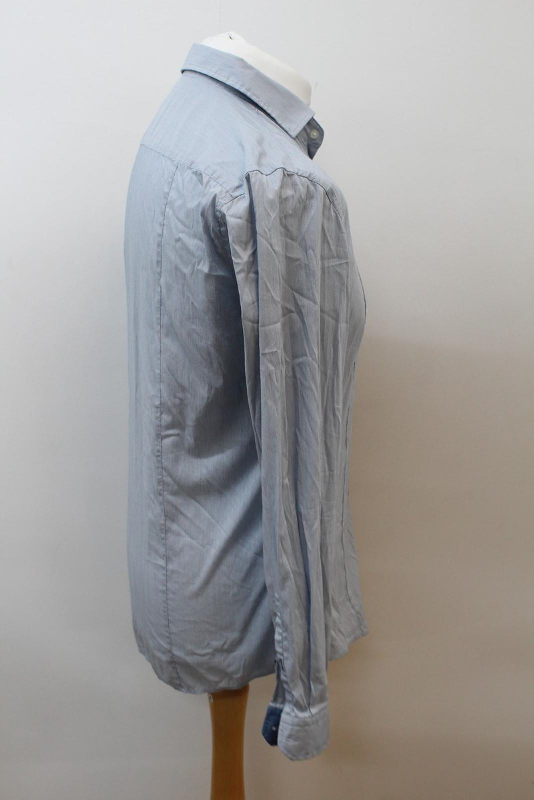 Hugo-Boss-Para-Hombre-Azul-Mezcla-De-Algodon-Manga-Larga-a-Rayas-Calce-Ajustado-Camisa-Informal-M miniatura 4